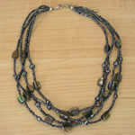 Paua Chip and Bead Necklace